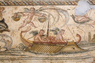 Tripoli, Libya - Roman Mosaic from Sabratha, Jamahiriyya Museum, Boat